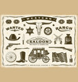 vintage old western set vector image