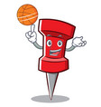 with basketball red pin character cartoon vector image