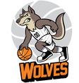 wolf basketball mascot vector image vector image