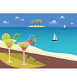 Coctails on the tropical beach vector image