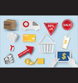 paper art of icons of e-commerce symbols vector image