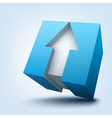 3d cube with arrow vector image vector image