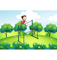 A gymnast at the top of the hills vector image vector image
