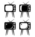 black vintage tv on high stand silhouette set vector image