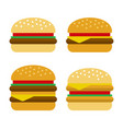 burger icon set flat style vector image