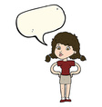 cartoon pretty girl with hands on hips with speech vector image vector image
