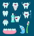 characters set funny teeth and vector image vector image