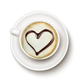 Coffee cup with a heart vector image vector image