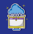 computer and cloud data technology patches sticker vector image