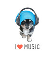 cute puppy wearing headphones i love music slogan vector image