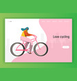 cycling landing page template riding bicycle vector image
