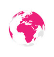earth globe with pink world map focused on africa vector image vector image