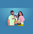 family holding baskets with eggs father mother and vector image