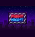 fight night neon signboard bright night vector image vector image
