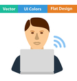Flat design icon of Businessman sitting behind a vector image vector image
