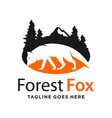forest and mountain fox logo design template vector image vector image