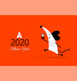 funny mouse symbol 2020 year banner for your vector image