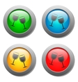 Goblets icon glass button set vector image vector image