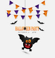 halloween poster design with cute flying bat vector image vector image