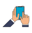 hands holding cellphone icon image vector image vector image