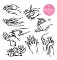 Hands Washing Black White Set vector image