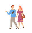 happy couple man and woman walking together vector image vector image