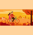 happy couple riding bicycle in park vector image vector image