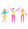 happy people stand together and celebrate holiday vector image vector image