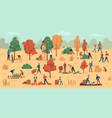 harvest season farmers on plantation collecting vector image