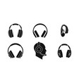 headphones icon set simple style vector image vector image