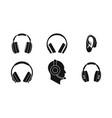 headphones icon set simple style vector image