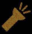 hexagon halftone electric torch light icon vector image vector image