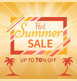 hot summer sale colorful banner with beach palms vector image
