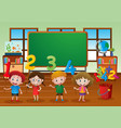 kids and different numbers in classroom vector image vector image