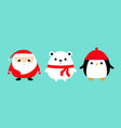 penguin bird white bear santa claus face head vector image