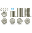 realistic cylindrical tin mockup cans various vector image