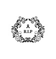 rest in peace floral funeral with rip isolated vector image vector image