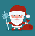 santa claus with a bag and crook stick vector image vector image