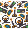 seamless pattern with gamepads pc controllers and vector image vector image