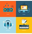 Set of flat design concept icons for music vector image