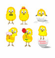 six chickens on a white background vector image vector image