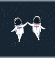 space love story of astronauts vector image vector image