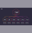 thin line infographic scheme with 6 options vector image vector image