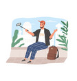 travel blogger speaking to phone camera on selfie vector image