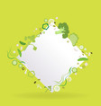 vegetable rhombus frame with white paper label vector image vector image