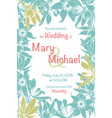 wedding invitation card with floral frame vector image
