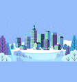 winter simple landscape snowy city panorama vector image vector image