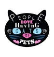 cat silhouette with blue eyes and message vector image