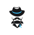 a man with a mustache in a hat and a blue ribbon vector image vector image