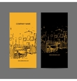 Abstract cafe interior silhouette Business card vector image vector image